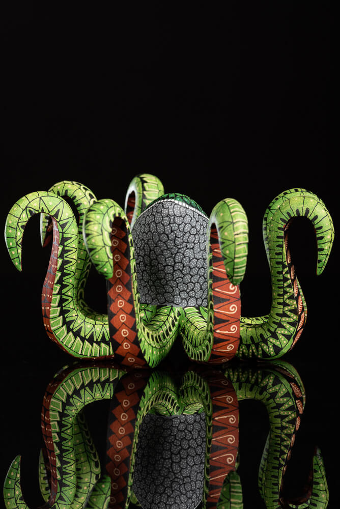 Oaxacan-wood-carving-green-octopus-alebrije