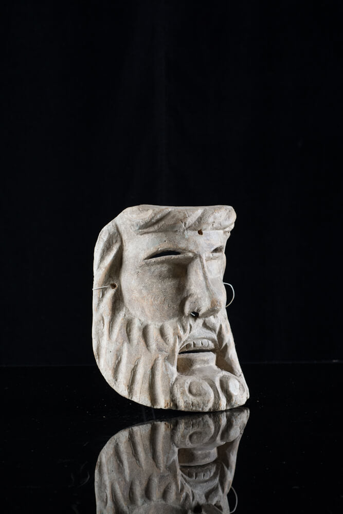 Man with Beard Hand Carved Wood Mask Mexican Folk Art