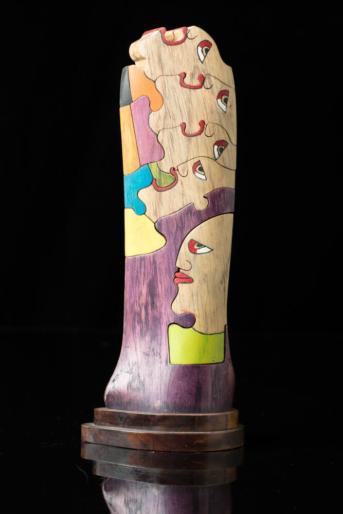 Hand Carved Wooden Sculpture  Puzzle style With Multiple Faces