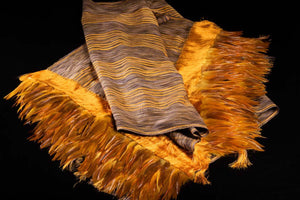 Striped Yellow and Brown Cotton Shawl with Feathers Indigenous textile art