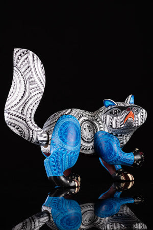 Raccoon Alebrije Oaxacan Wood Carving Blue & White