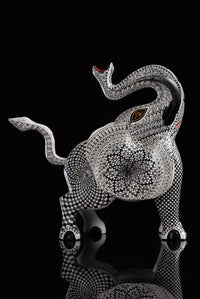 Black & White Elephant Alebrije Wood Carving