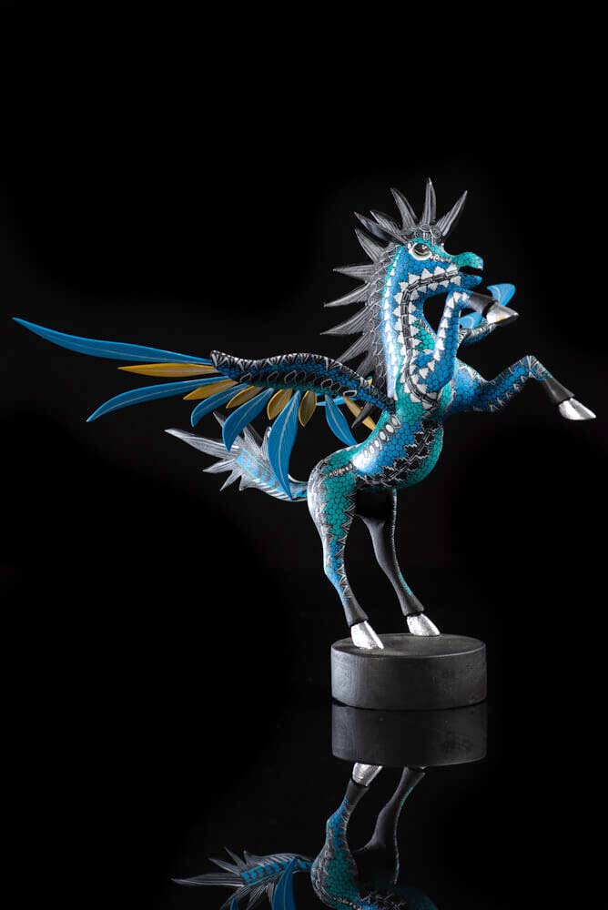 Oaxacan wood carving Pegasus Mexican Alebrije in blue