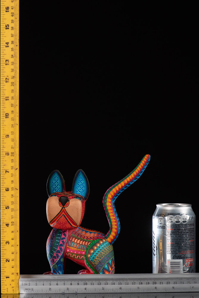 Colorful Dog Alebrije Oaxacan Wood Carving Folk Art