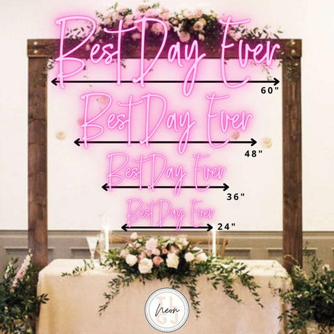 Wedding Neon Sign Size Guide - The Lovely Glass Jar