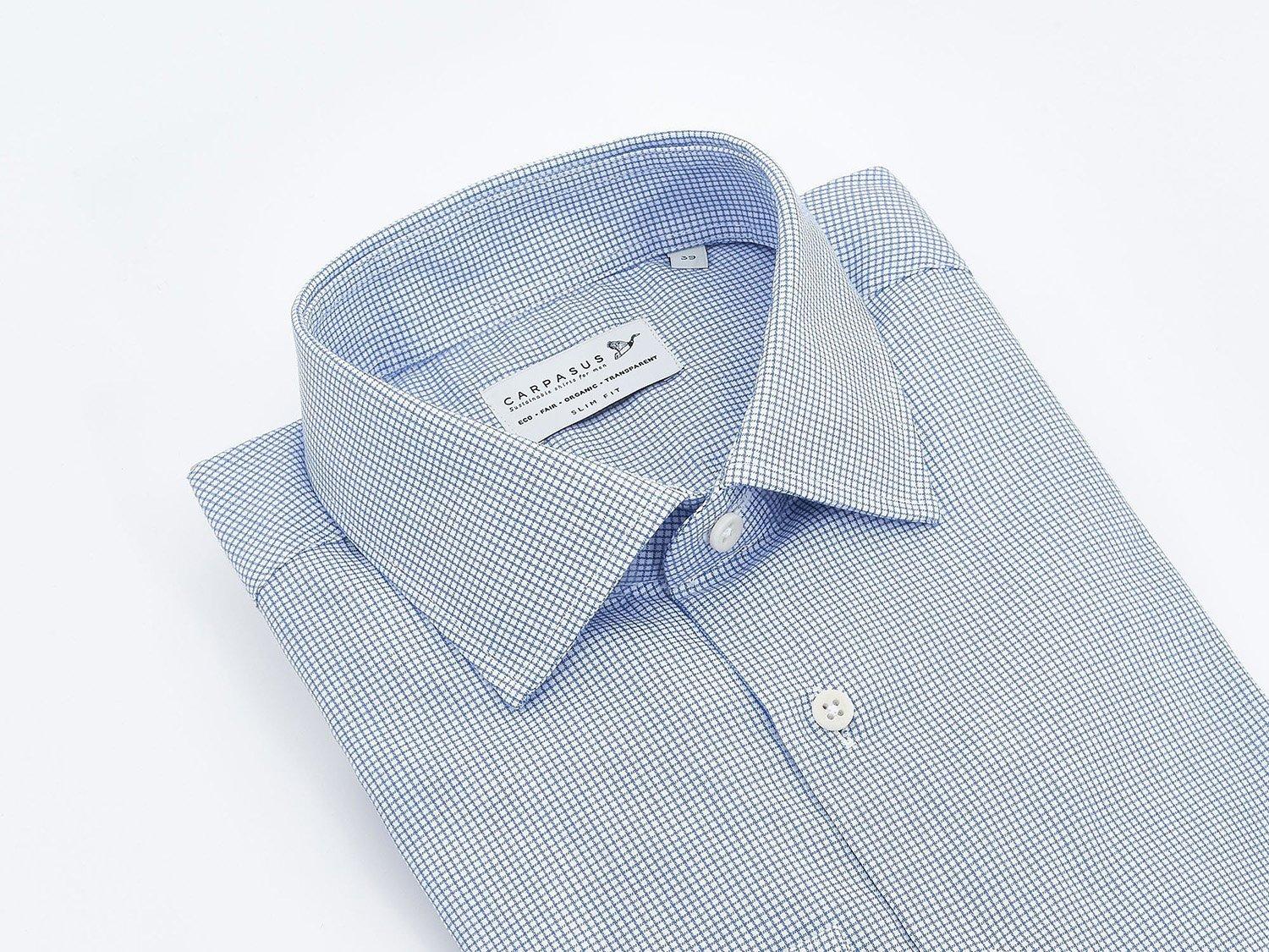 carpasus sustainable organic cotton dress shirt blue check. Nachhaltiges Carpasus Businesshemd aus Bio Baumwolle in Karo Blau