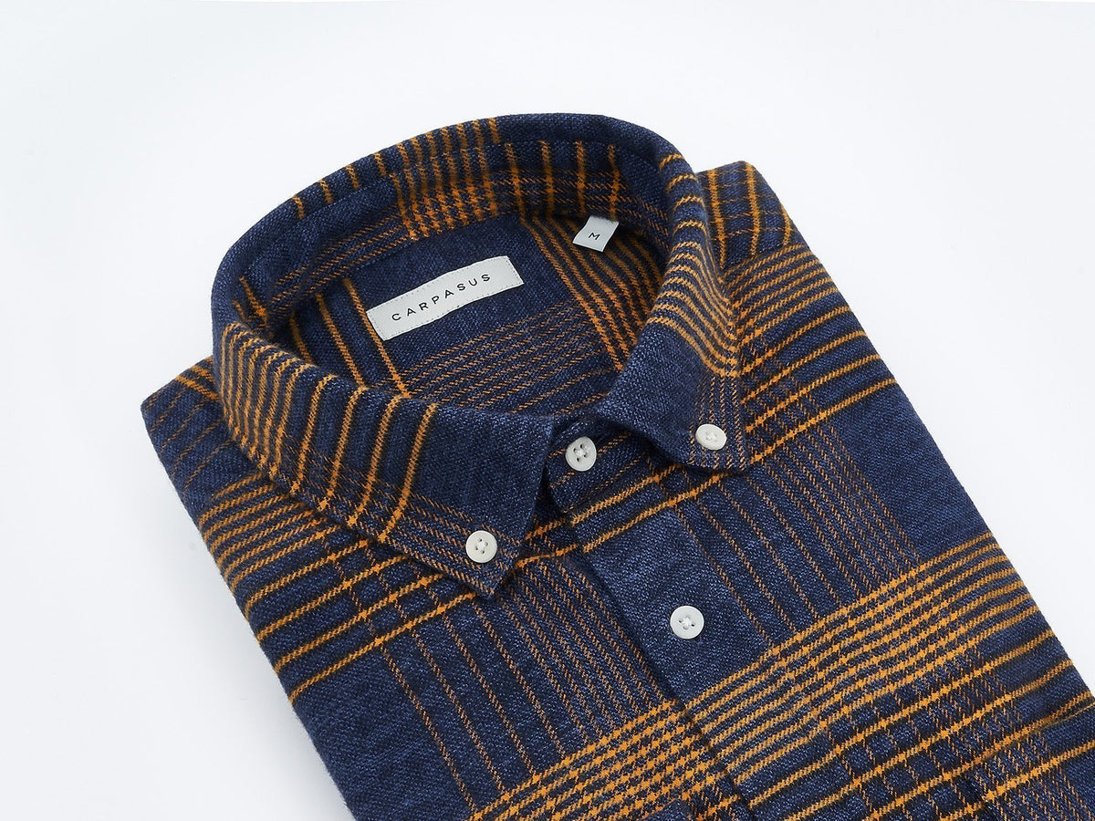 carpasus sustainable organic cotton flanell shirt ursido navy. Nachhaltiges Carpasus Flanell Hemd Ursido aus Bio Baumwolle in Navy