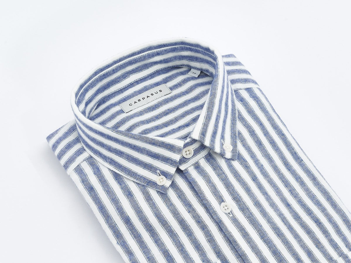 carpasus sustainable organic cotton and linen shirt melo blue. Nachhaltiges Carpasus Hemd Melo aus Bio Baumwolle und Leinen in Blau