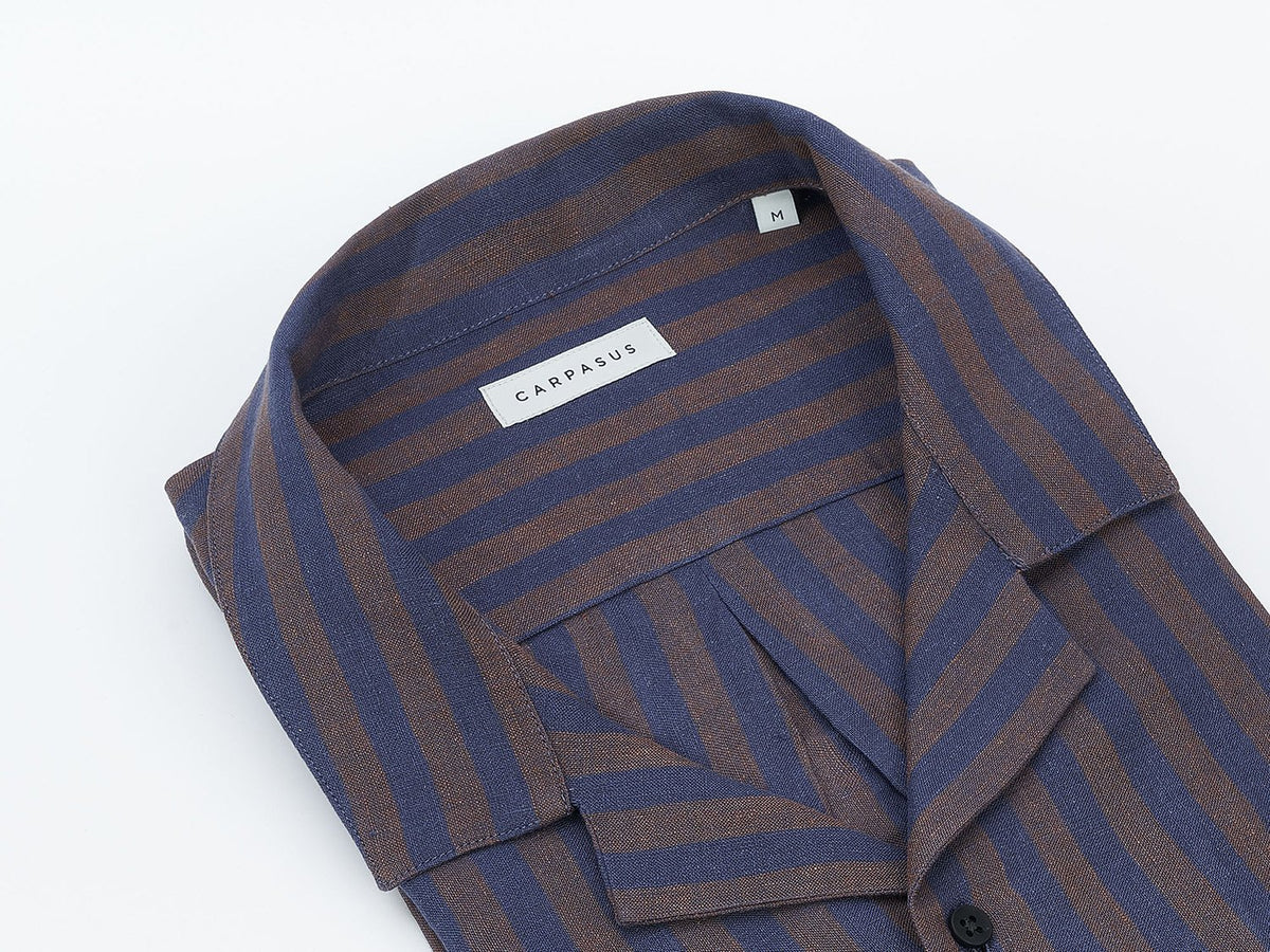 carpasus sustainable organic linen shirt maloja brown. Nachhaltiges Carpasus Hemd Maloja Braun aus Bio Leinen