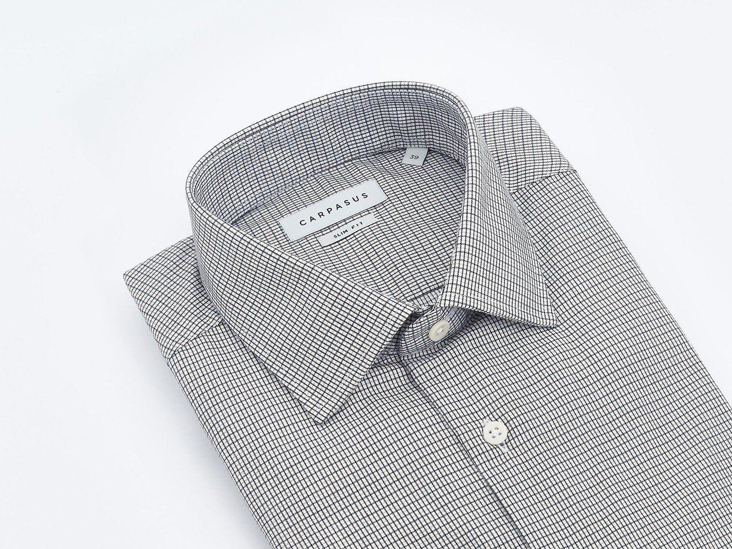 carpasus sustainable organic cotton tailor-made shirt black yellow check. Nachhaltiges Carpasus Masshemd aus Bio Baumwolle in Karo Schwarz Gelb