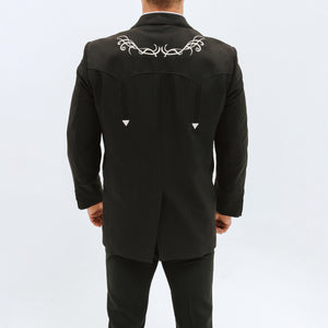 Traje Vaquero Far West Negro Bordado Hueso 699 - Very Vaquero