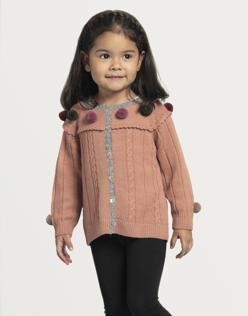 Girls Pompom Cardigan