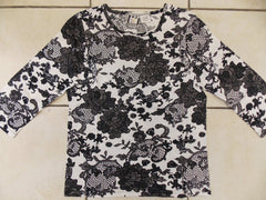 Floral Lace - 3/4 Sleeve Embellished Tee
