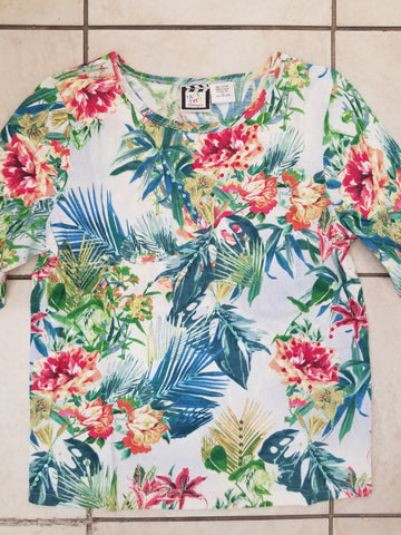 Tropical Floral - 3/4 Sleeve Embellished Tee