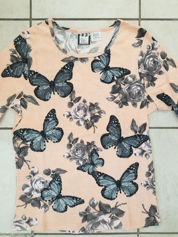 Butterfly Floral - 3/4 Sleeve Embellished Tee