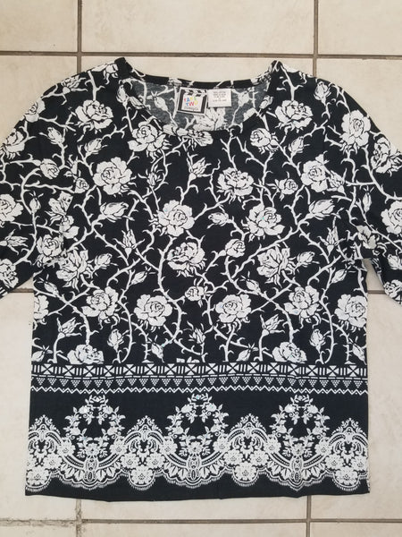 Floral Border - 3/4 Sleeve Embellished Tee