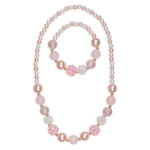 Pinky Pearl Necklace and Bracelet Set