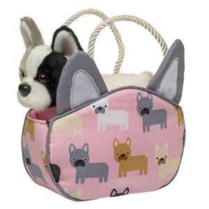 French Bulldog Sassy Sak/Purse With Bulldog Plush Dog