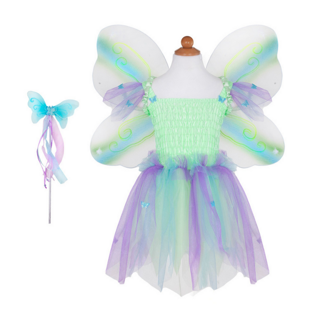 Butterfly Dress with Wings and Wand Set