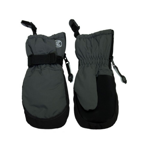 Calikids Waterproof Mittens with Clips - Charcoal