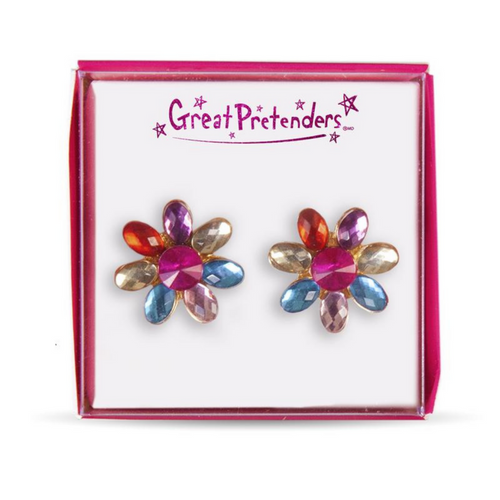 Clip On Earrings - Flower Gems