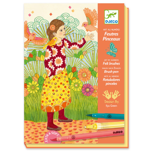 Djeco - Felt Brushes Colouring Art Kit- Spellbound