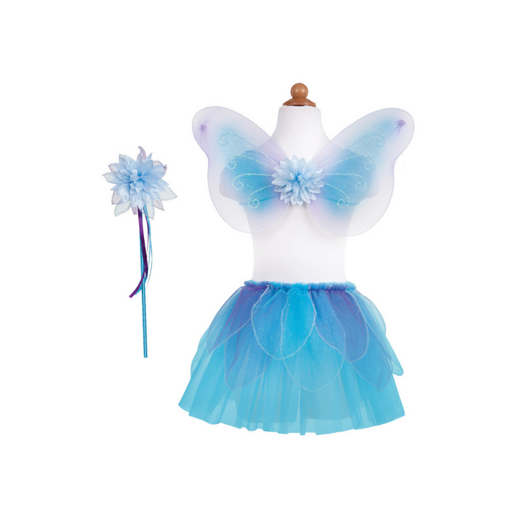 Fancy Flutter Skirt Set with Wings and Wand - Blue