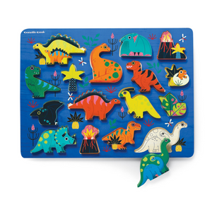 Crocodile Creek - Let's Play 16-piece Wood Puzzle & Playset - Dinosaurs