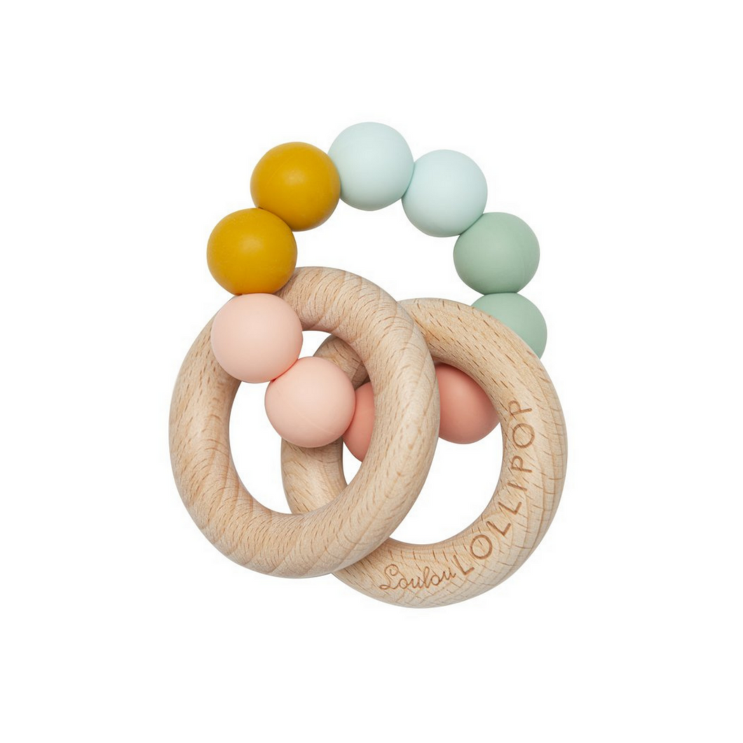 Loulou Lollipop - Bubble Silicone and Wood Teether - Rainbow