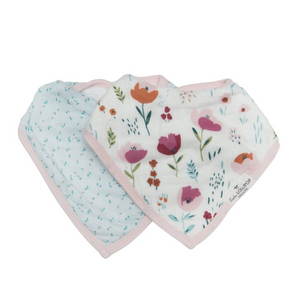 Loulou Lollipop Muslin Bandana Bib Set - Rosey Bloom - 2 Pack