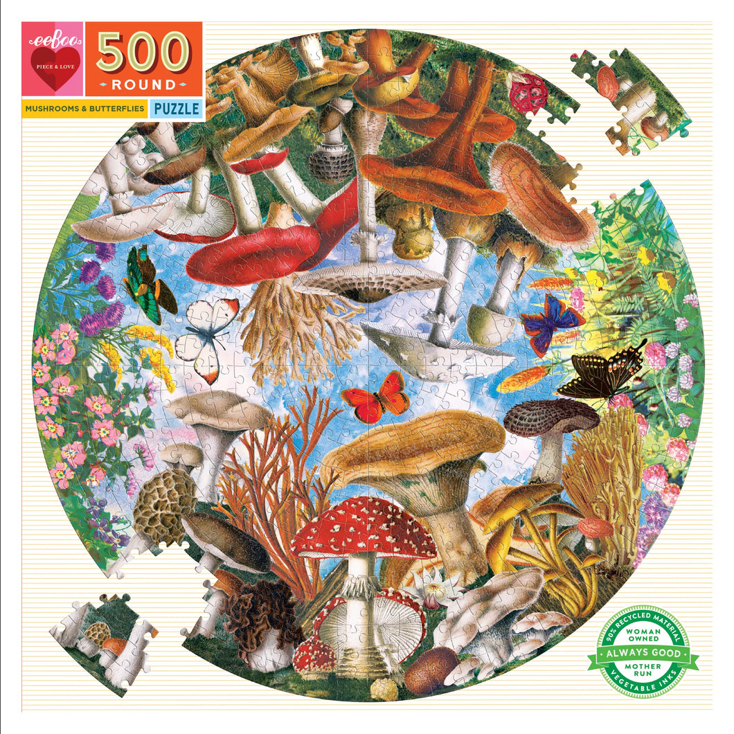 Eeboo - 500 Piece Puzzle - Mushrooms and Butterflies