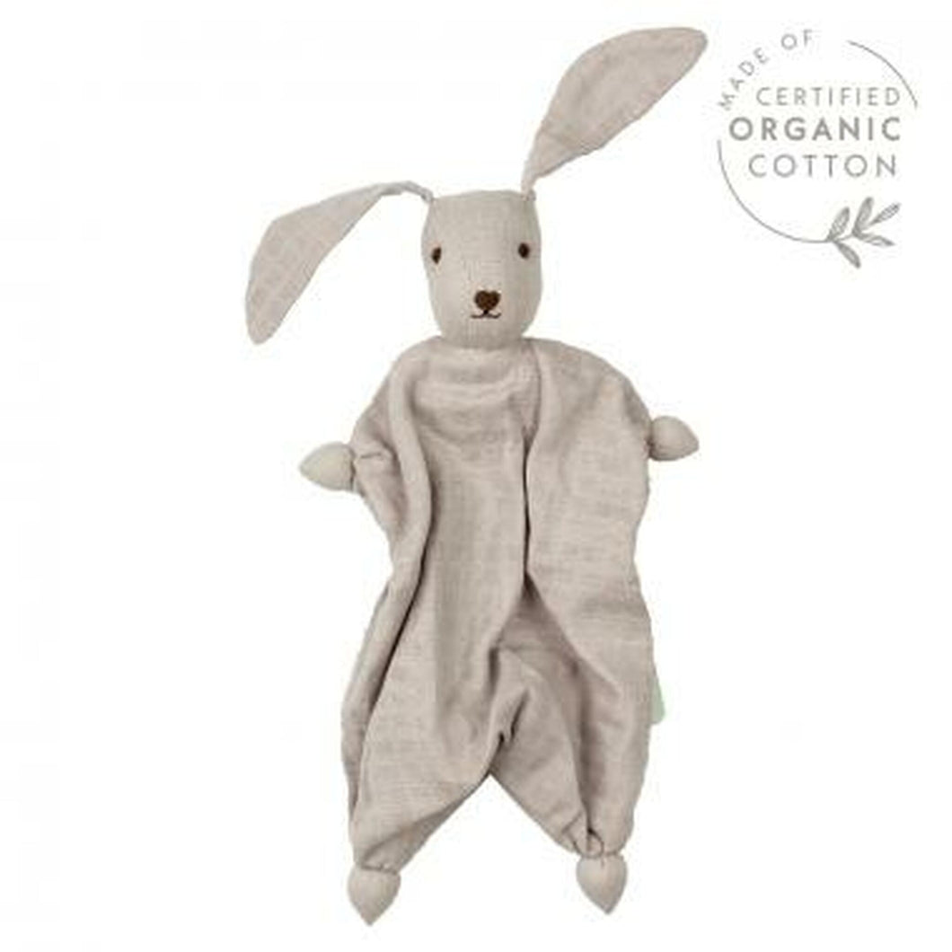 Hoppa - Organic Muslin Bonding Bunny Doll - Silver/Grey