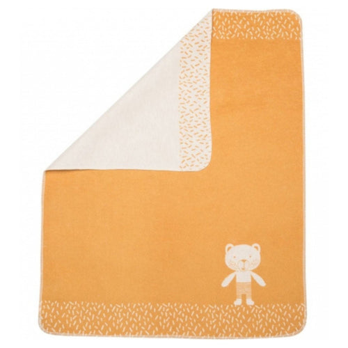 Fussenegger Baby Blanket - Gold With Bear In The Corner