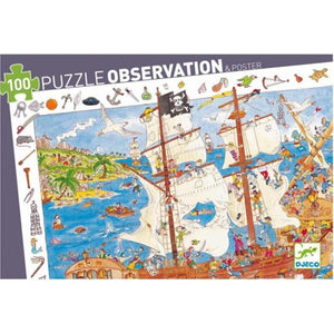 Djeco - Observation Puzzle - 100 Piece - Pirates