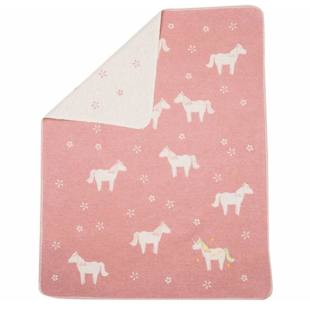 Fussenegger Juwel Blanket - Embroidered Unicorns - Pink
