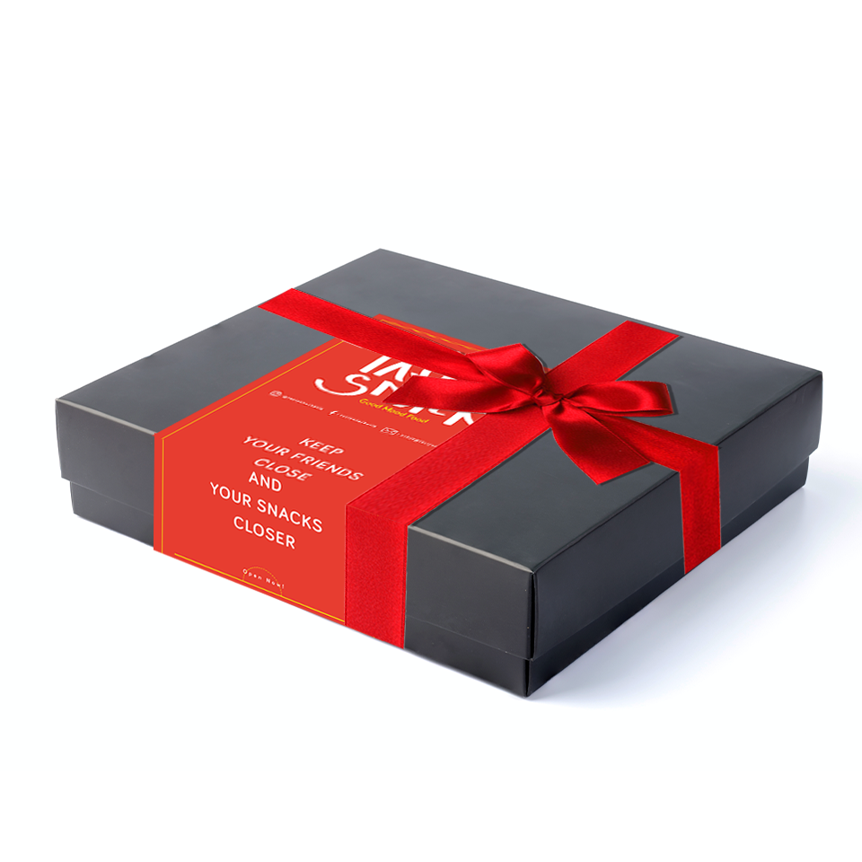 Silk Satin Ribbon, Matte Black Gift Box And Customised Card
