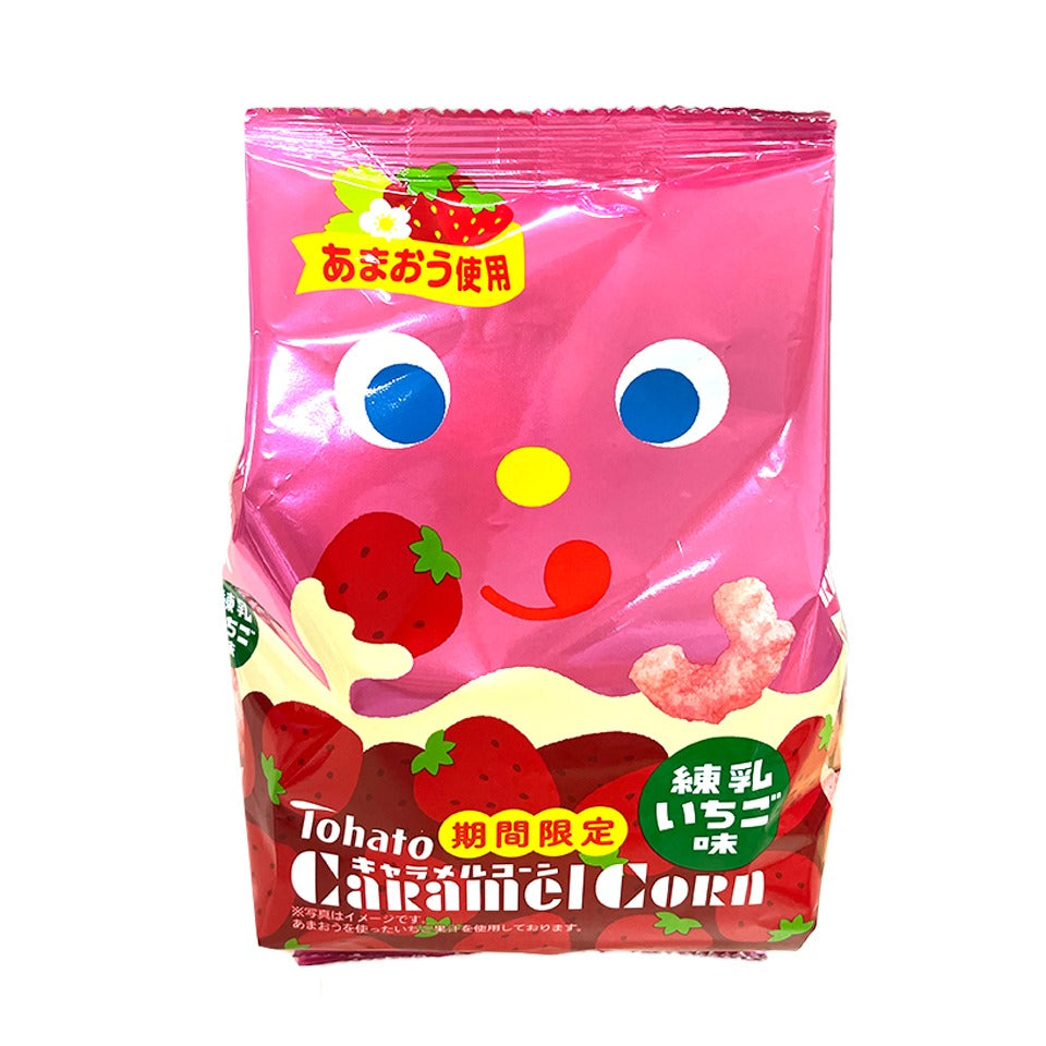 Tohato - Caramel Strawberry Condensed Milk Corn Puffs (83g)