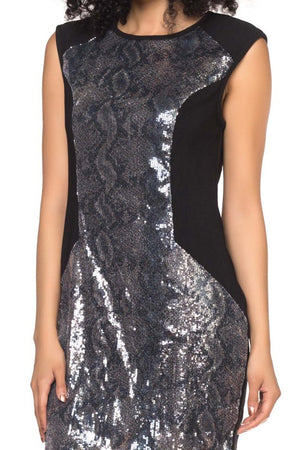 BLACK SHIMMER MINI DRESS