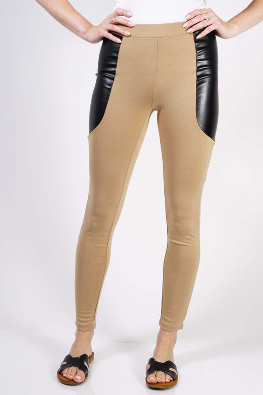 FAUX LEATHER LEGGING IN NUDE