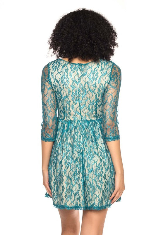 GREEN LONG-SLEEVE LACE MINI DRESS