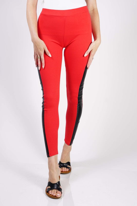 FAUX LEATHER LEGGING IN RED