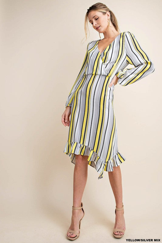 LILY STRIPE OVERLAP DRESS