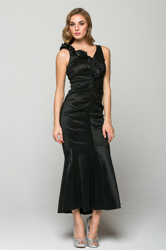 V NECK EVENING DRESS IN BLAC