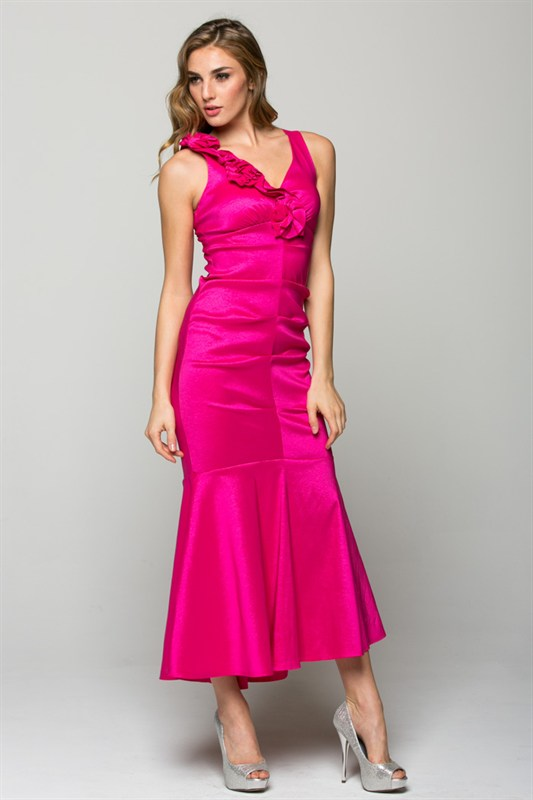 V NECK MERMAID DRESS IN FUSHIA