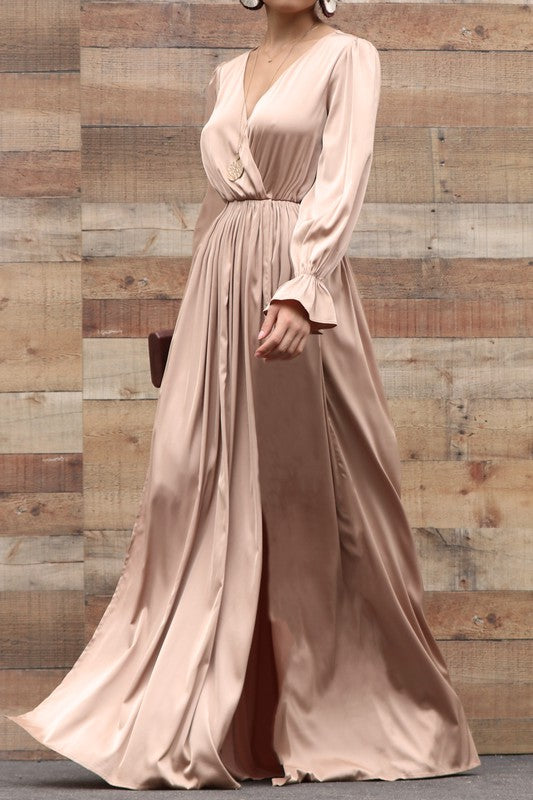 OLIVIA LONG-SLEEVE MAXI CHAMPAGNE DRESS