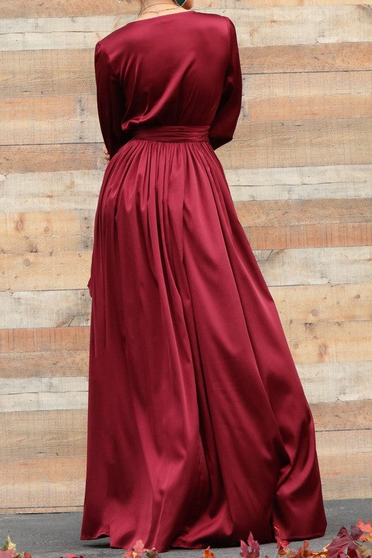 OLIVIA LONG-SLEEVE MAXI DRESS IN BURGUNDY