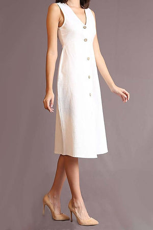 SLEEVELESS V NECK BUTTON UPDRESS IN IVORY
