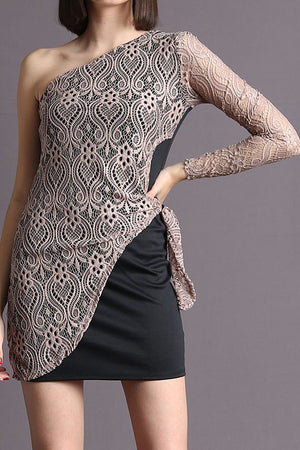 ONE SLEEVE LACE MINI DRESS