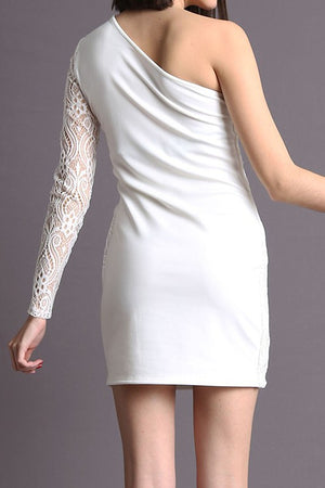 WHITE ONE SLEEVE LACE DETAIL MINI DRESS
