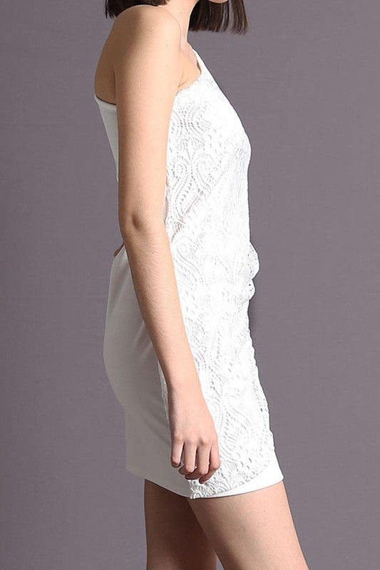 ONE SLEEVE LACE DETAIL MINI DRESS IN WHITE
